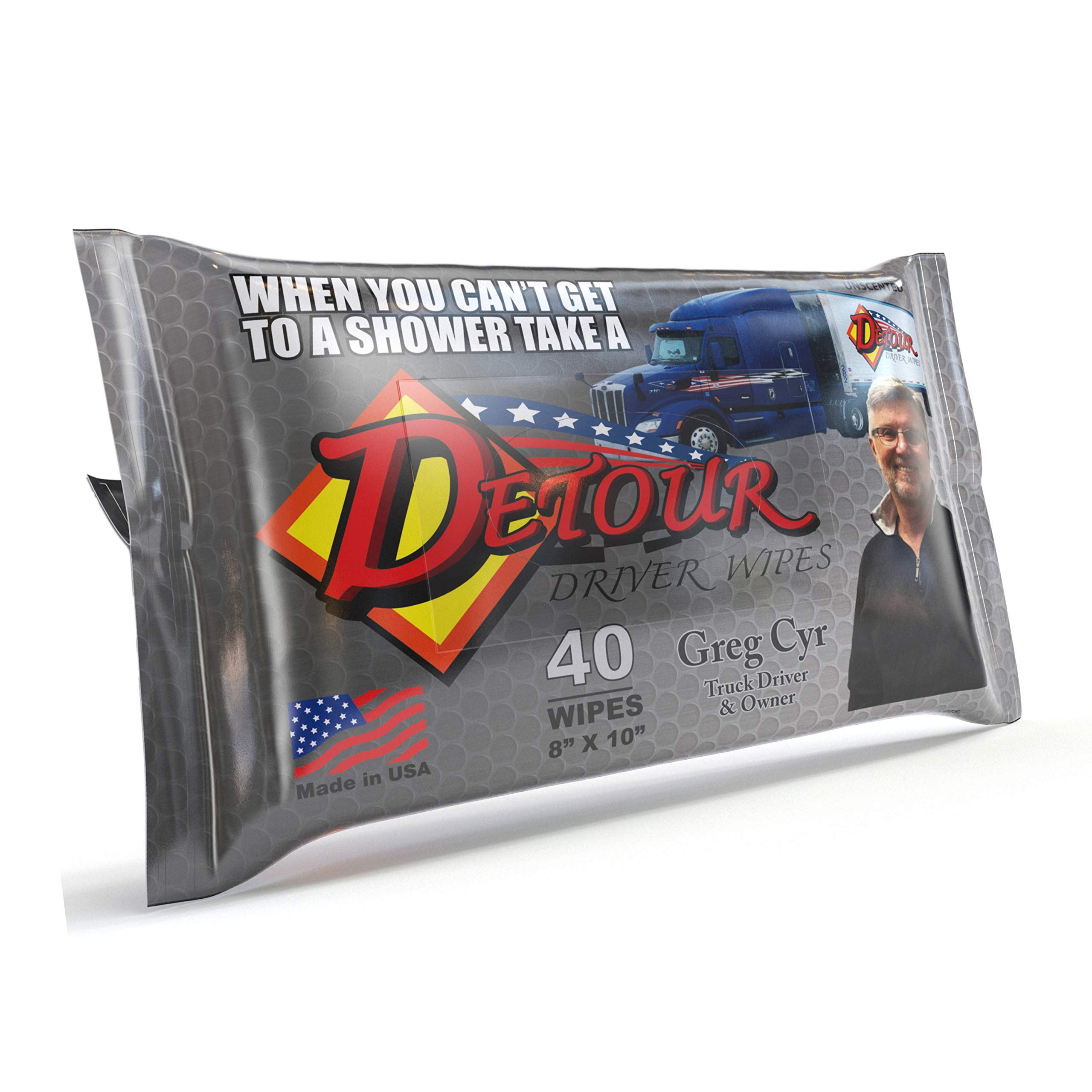 Detour Body Wipes for Men - Extra Large, Unscented, Camp and Road Dry Shower Wipes for Adults, Travel and Post Workout Quick Cleansing Hand and Face Shower Sheets (40 Count)