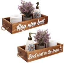 Hey Nice bult Bathroom Decor Box Rustic Toilet Paper Holder Wooden Toilet Storage Box Funny Farmhouse Decor Bathroom Decorations Brown