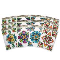S&S Worldwide CF-13312 Rectangle Stained Glass Window Clings (Pack of 12)