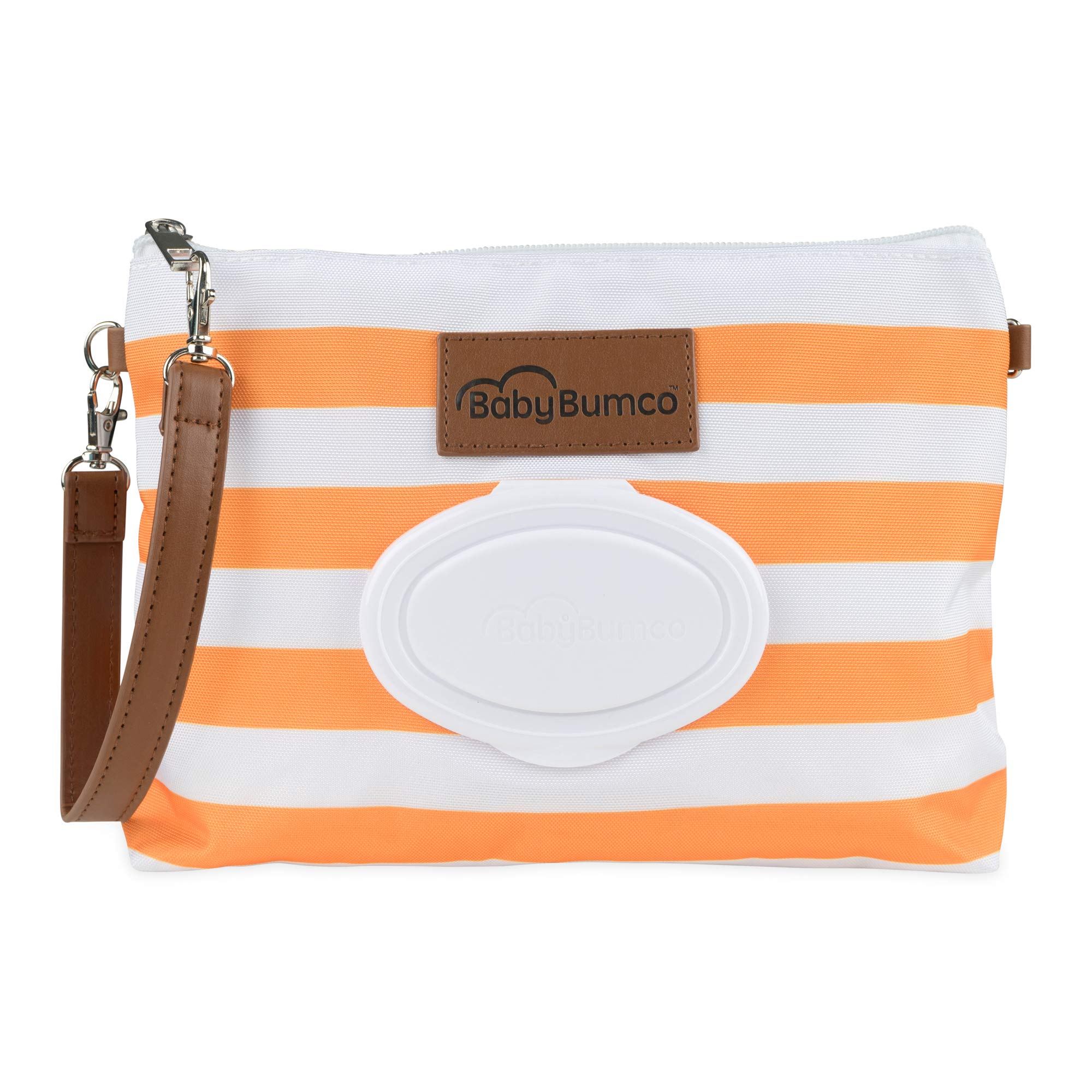 Baby Bumco Diaper Clutch Bag - Water Resistant; Lightweight; Refillable Wipes Dispenser; Portable Changing Kit (Orange)