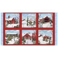 Tis the Season 24'' Winter Panel Red Fabric