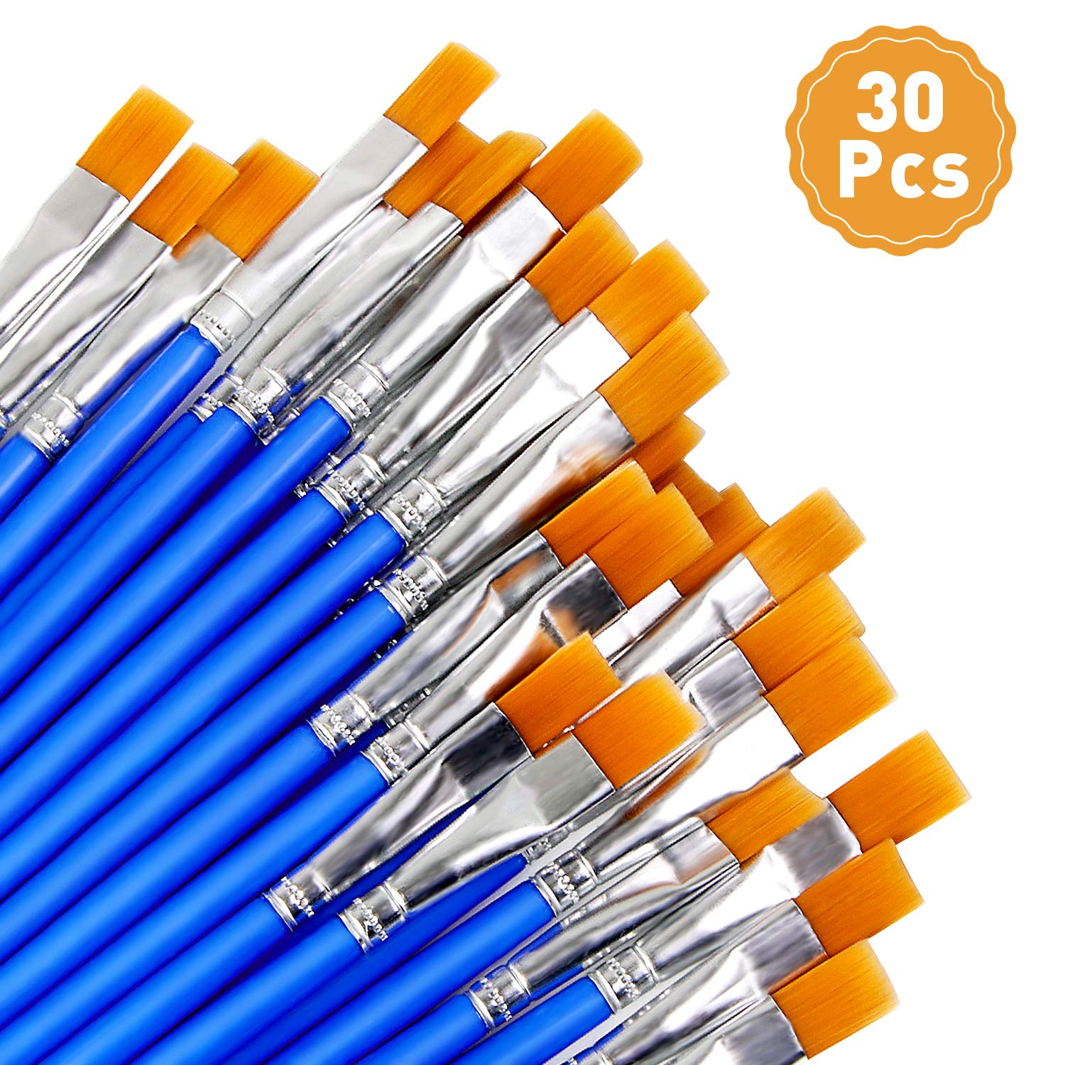 30 Pcs 9mm Wide Flat Paint Brushes, Acrylic Small Brush Bulk for Detail Painting