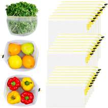 OTAGO 21 Packs Reusable Mesh Produce Bags,Eco-Friendly Washable and See Through with Colorful Drawstring Tare Weight Tags for Shopping,Fruits,Vegetable(3 Sizes-7 Large 7 Medium &7 Small),Yellow