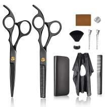 Professional Hair Cutting Scissors Shears Set, Hairdressing Scissors Kit, Hair Cutting Scissors, Thinning Shears, Hair Razor Comb, Clips and Windowed Cape (Black)