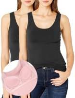 DYLH Women Shelf Bra Support Tank Top Super Comfy Stretch Camis A-DD Cups 1/2 Packs