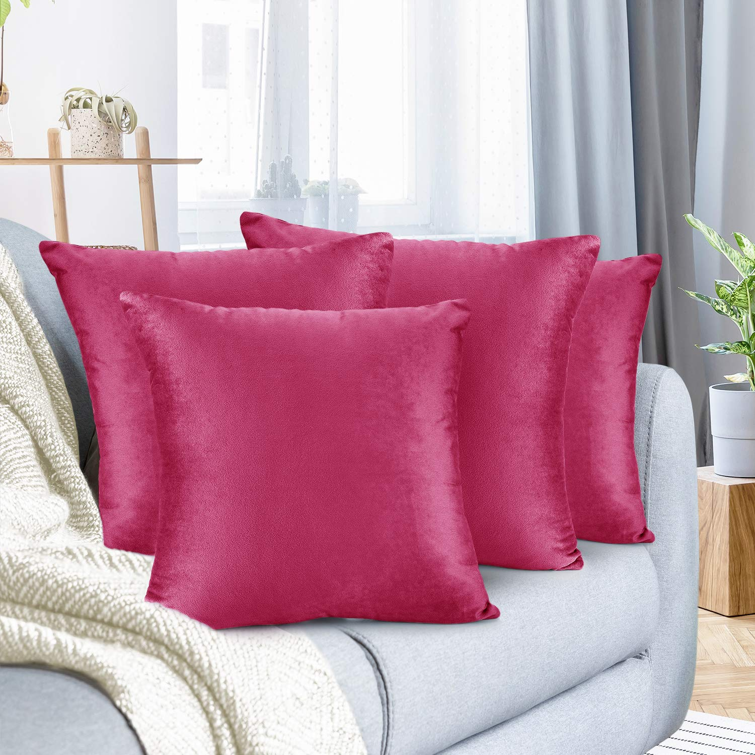 """Nestl Bedding Throw Pillow Cover 26"""" x 26"""" Soft Square Decorative Throw Pillow Covers Cozy Velvet Cushion Case for Sofa Couch Bedroom, Set of 4, Hot Pink"""