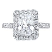Clara Pucci 3.8ct Brilliant Emerald Round Cut Solitaire Halo Statement Wedding Anniversary Engagement Promise Ring 14k Solid White Gold