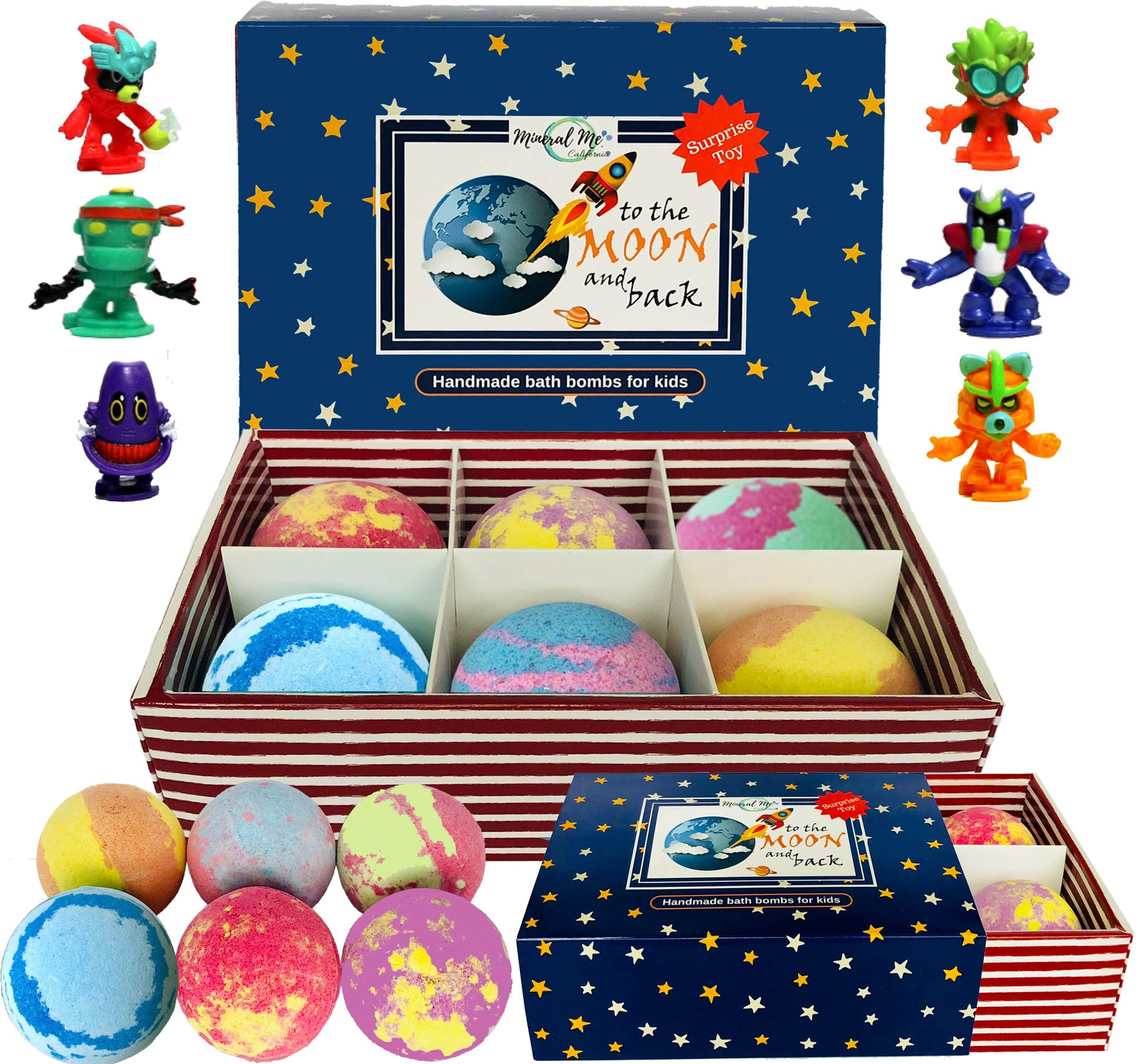 Bath Bombs for Kids with Toys Inside - Set of 6 Natural and Organic Bubble Bath Bombs with Surprise Inside, Gentle and Kids Safe, Bath Fizzies . Birthday or Easter Gift for Girls and Boys