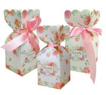 Lontenrea 50 Pcs Floral Pattern Candy Boxes Wedding Birthday Party Favor Gift Box with 50pcs Light Pink Ribbon