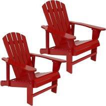 Sunnydaze Adirondack Chair with Adjustable Backrest - Natural Fir Wood Material - Outdoor Patio Chair - 250-Pound Weight Capacity - Red - Set of 2
