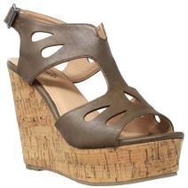 Womens Platform Sandals Cutout T-Strap Slingback Cork Wedges