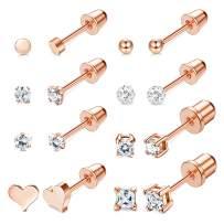 ORAZIO 8 Pairs Tiny Cartilage Barbell Stud Earrings Set for Men Women Heart Ball Clay CZ Flat Back Screwback Helix Earrings Stainless Steel Ear Piercing Earrings Set 3MM