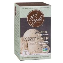 Triple Scoop Ice Cream Mix, Premium Mint Chocolate Chip, starter for use with home ice cream maker, non-gmo, no artificial colors or flavors, ready in under 30 mins, makes 2 qts (1 15oz box)