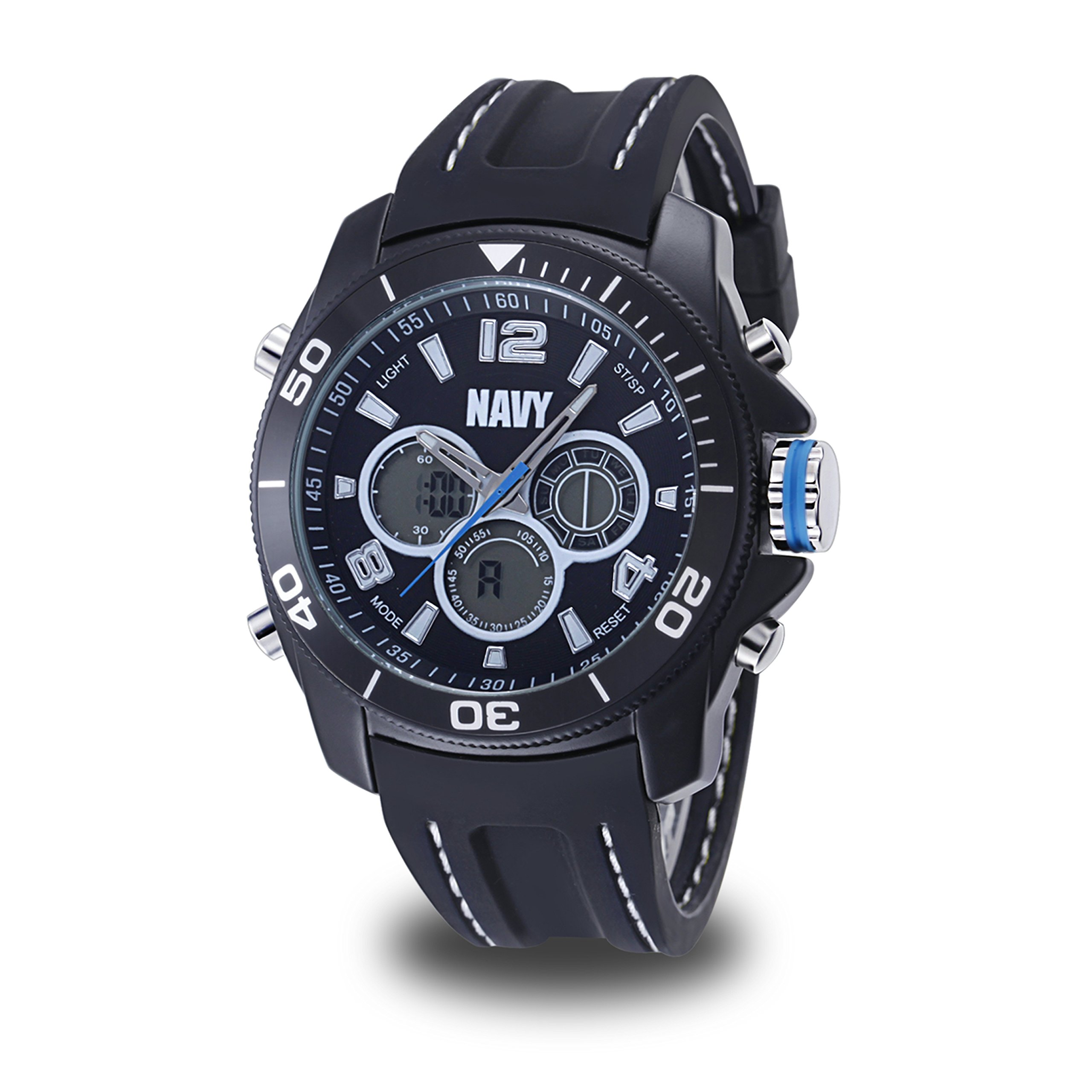 US Military Men's Analog-Digital Chronograph Black Silicone Strap Watch by Wrist Armor