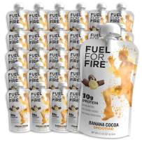 Fuel For Fire - Banana Cocoa (24 Pack) Fruit & Protein Smoothie Squeeze Pouch | Perfect for Workouts, Kids, Snacking - Gluten Free, Soy Free, Kosher (4.5 ounce pouches)