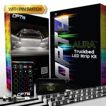 OPT7 Aura 3pc Truck Bed Full Coverage LED Lighting Strip Kit - Sound-Activated Multi-Color Lights - Wireless Remote - OE-Style Rocker Switch - AUTO-ON Tailgate Switch - 1 Year Warranty