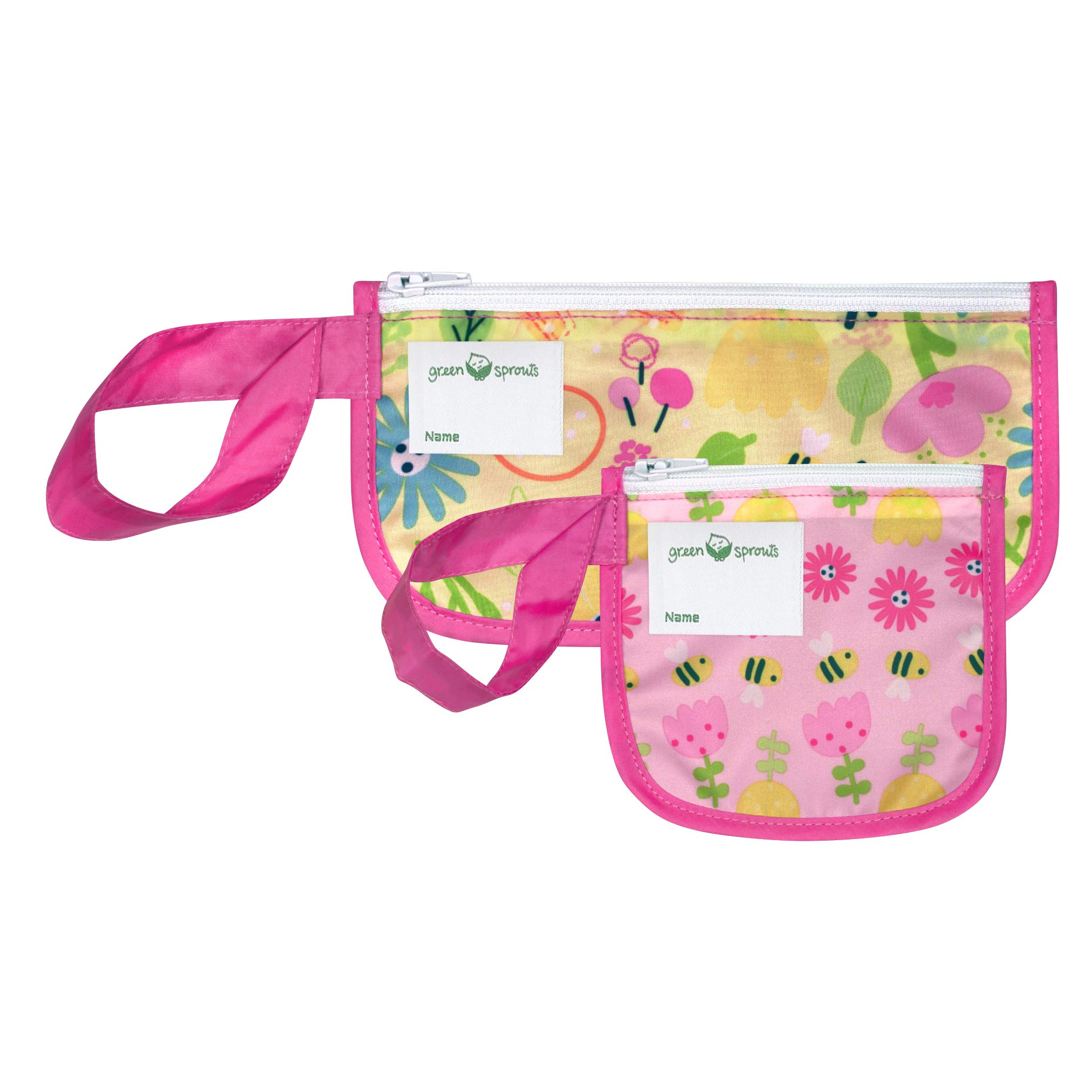 green sprouts Reusable Snack Bags (2 Pack)   Holds Food, Utensils, Wipes, More   Food-Safe, Waterproof, Easy-Clean Material, Pink Bee Floral