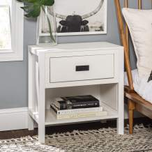 Walker Edison Traditional Simple Wood Rectangle Side Living Room Storage Small End Table, 1 Drawer, White
