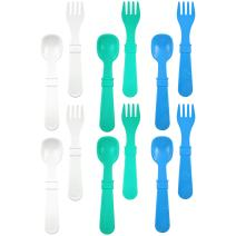 RE-PLAY Made in The USA 12pk Fork and Spoon Utensil Set for Easy Baby, Toddler, and Child Feeding in Aqua, White and Sky Blue | Made from Eco Friendly Heavyweight Recycled Milk Jugs | (Cool Breeze)