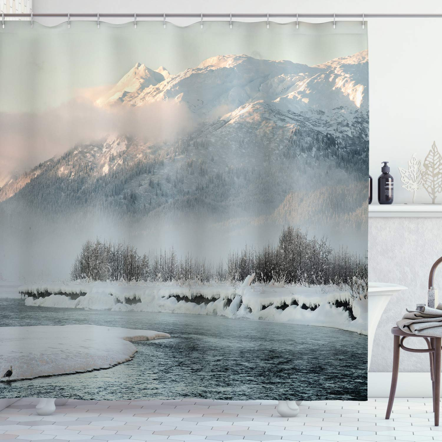 """Ambesonne Alaska Shower Curtain, Chilkat Valley Covered in Snow Winter Season Landscape Idyllic Scene from North, Cloth Fabric Bathroom Decor Set with Hooks, 84"""" Long Extra, Grey White"""