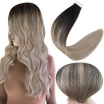 Full Shine Tape in Hair Extensions Human Hair 12 Inch Tape in Extensions Straight Seamless Hair Extensions Color 1B Black Fading to 18 Ash Blonde Remy Hair Extensions Tape in 30 Grams 20 Pieces