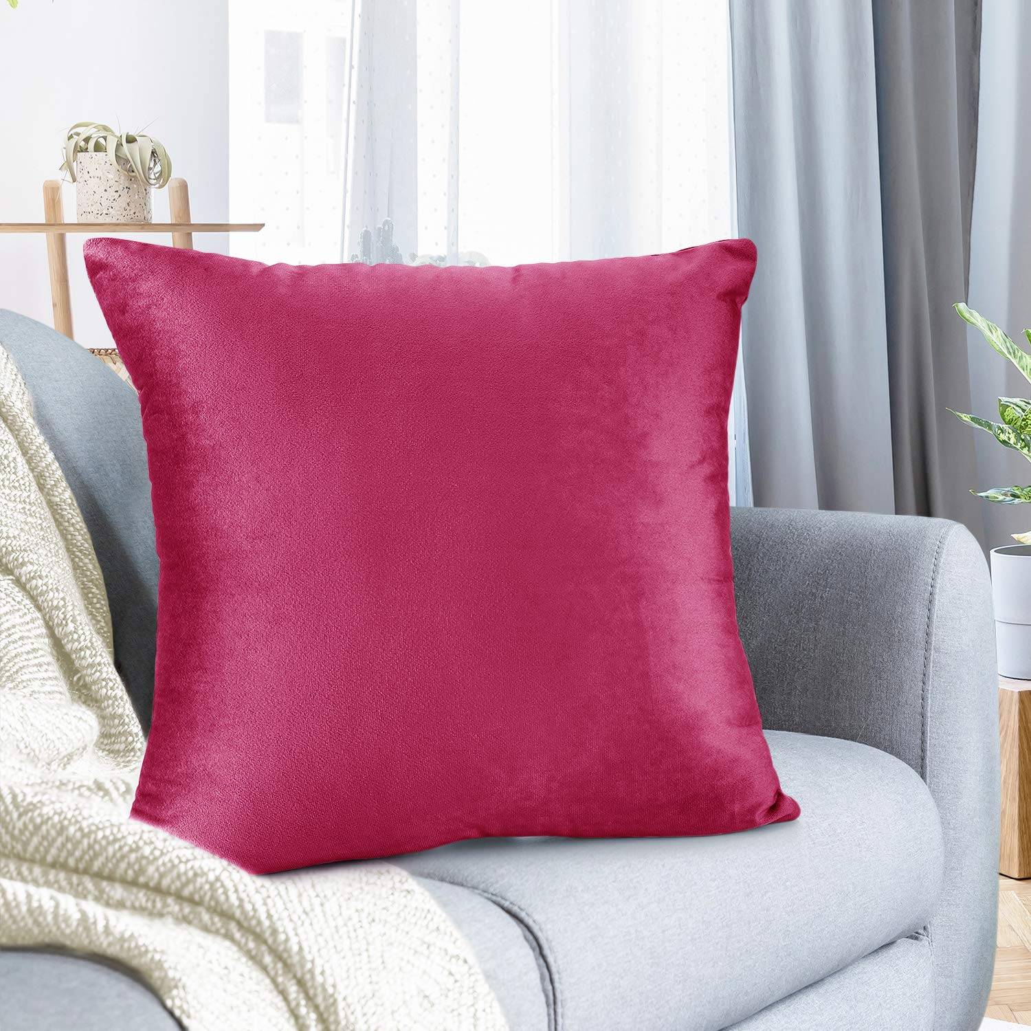"""Nestl Bedding Throw Pillow Cover 26"""" x 26"""" Soft Square Decorative Throw Pillow Covers Cozy Velvet Cushion Case for Sofa Couch Bedroom - Hot Pink"""