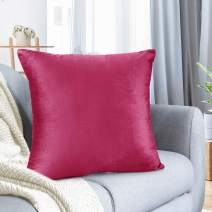 """Nestl Bedding Throw Pillow Cover 16"""" x 16"""" Soft Square Decorative Throw Pillow Covers Cozy Velvet Cushion Case for Sofa Couch Bedroom - Hot Pink"""