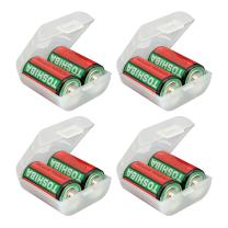 Whizzotech C Battery Organizer Storage Case Plastic Battery Holder Holds 2 C Batteries Pack of 4 BL16 (C-2PC)