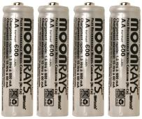 Moonrays 97125 Rechargeable NiCd AA Batteries Designed For Solar-Powered Lights, Charges in Direct Sunlight, Eco Friendly, High Performance, Long Lasting; exceptionally efficient source of energy, 4-Piece Value Pack