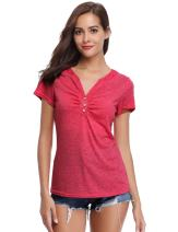 Abollria Women's V Neck Button T-Shirt Short Sleeve Pleated Casual Tee Shirt Tops