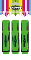 Fullmark Fluorescent Highlighter, Chisel Tip, Assorted Colors, 3-Count (All Green)