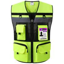 JKSafety 10 Pockets (Ver 2) Class 2 High Visible Reflective Safety Vest 150g Oxford Fabric with HQ Zippers Large Back Pockets Breathable and Mesh Lining (Yellow Black, Large)