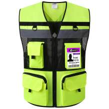 JKSafety 10 Pockets (Ver 2) Class 2 High Visible Reflective Safety Vest 150g Oxford Fabric with HQ Zippers Large Back Pockets Breathable and Mesh Lining (Yellow Black. 2X-Large)