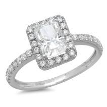 Clara Pucci 1.78 CT Emerald Cut CZ Halo Designer Solitaire Ring Band 14k White Gold