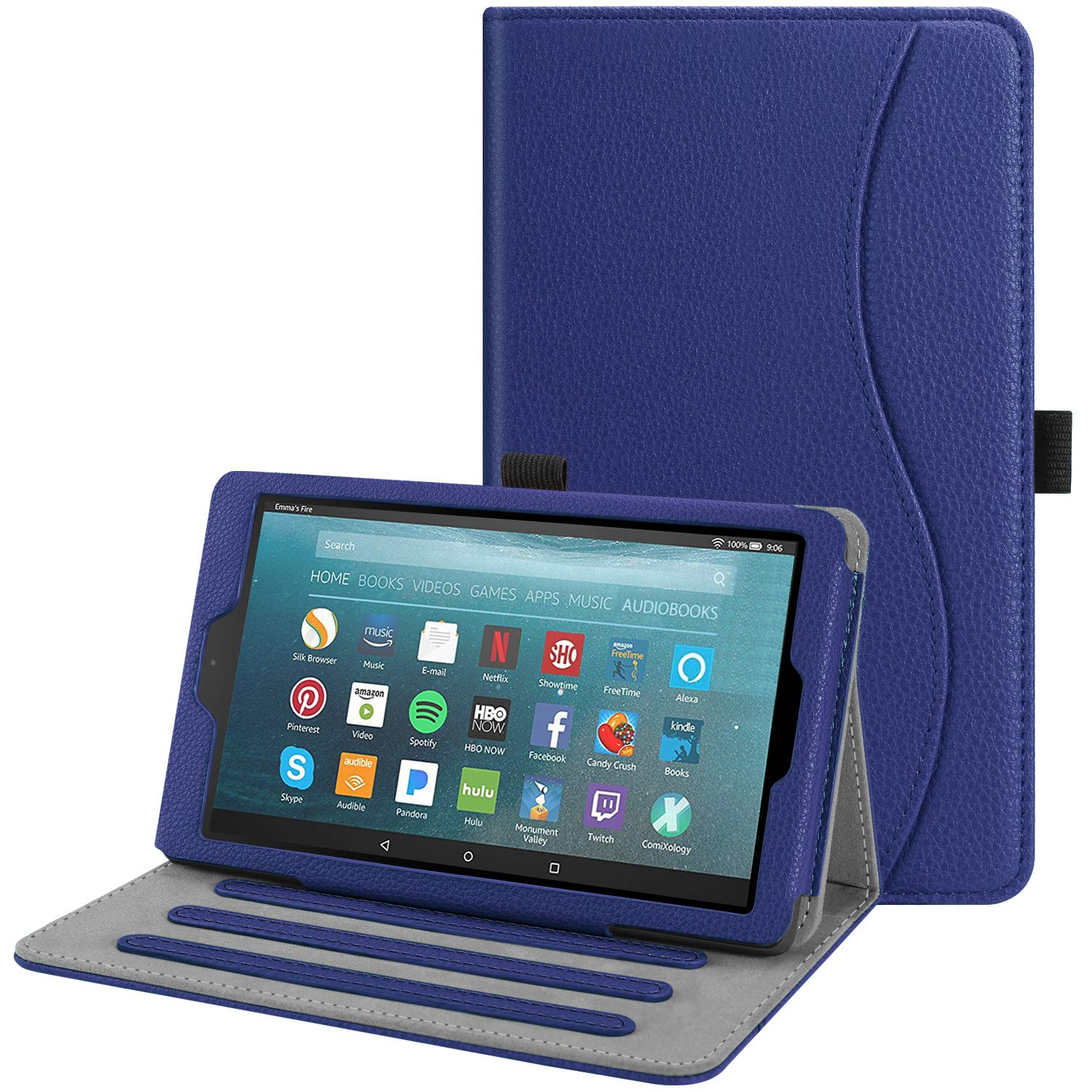 Fintie Case for All-New Amazon Fire 7 Tablet (9th Generation, 2019 Release) - [Multi-Angle] Viewing Folio Stand Cover with Pocket Auto Wake/Sleep, Navy