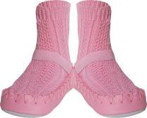 Konfetti Cable Knit Swedish Moccasin Slipper Socks Pink