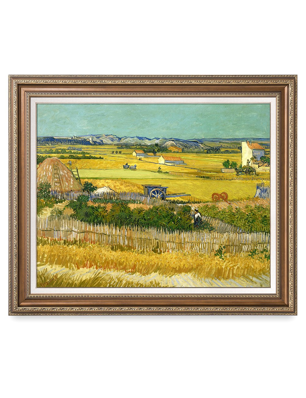 DECORARTS - The Harvest, Vincent Van Gogh Art Reproduction. Giclee Print& Framed Art for Wall Decor. 30x24, Framed Size: 35x29