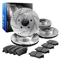 R1 Concepts CEDS11352 Eline Series Cross-Drilled Slotted Rotors And Ceramic Pads Kit - Front and Rear