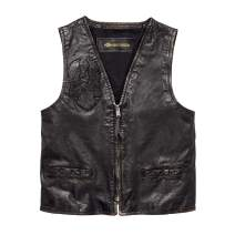 Harley-Davidson Men's Iron Distressed Slim Fit Leather Vest, Black