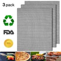 """Nonstick Barbecue Grill Mesh Mat Set of 3, BBQ Grilling & Baking Sheet Liner, Reusable Grill Accessories for Grilled Vegetables/Fish/Fajitas/Shrimp, Uses on Smoker,Pellet,Gas, Charcoal Grill,17"""" x 13"""""""