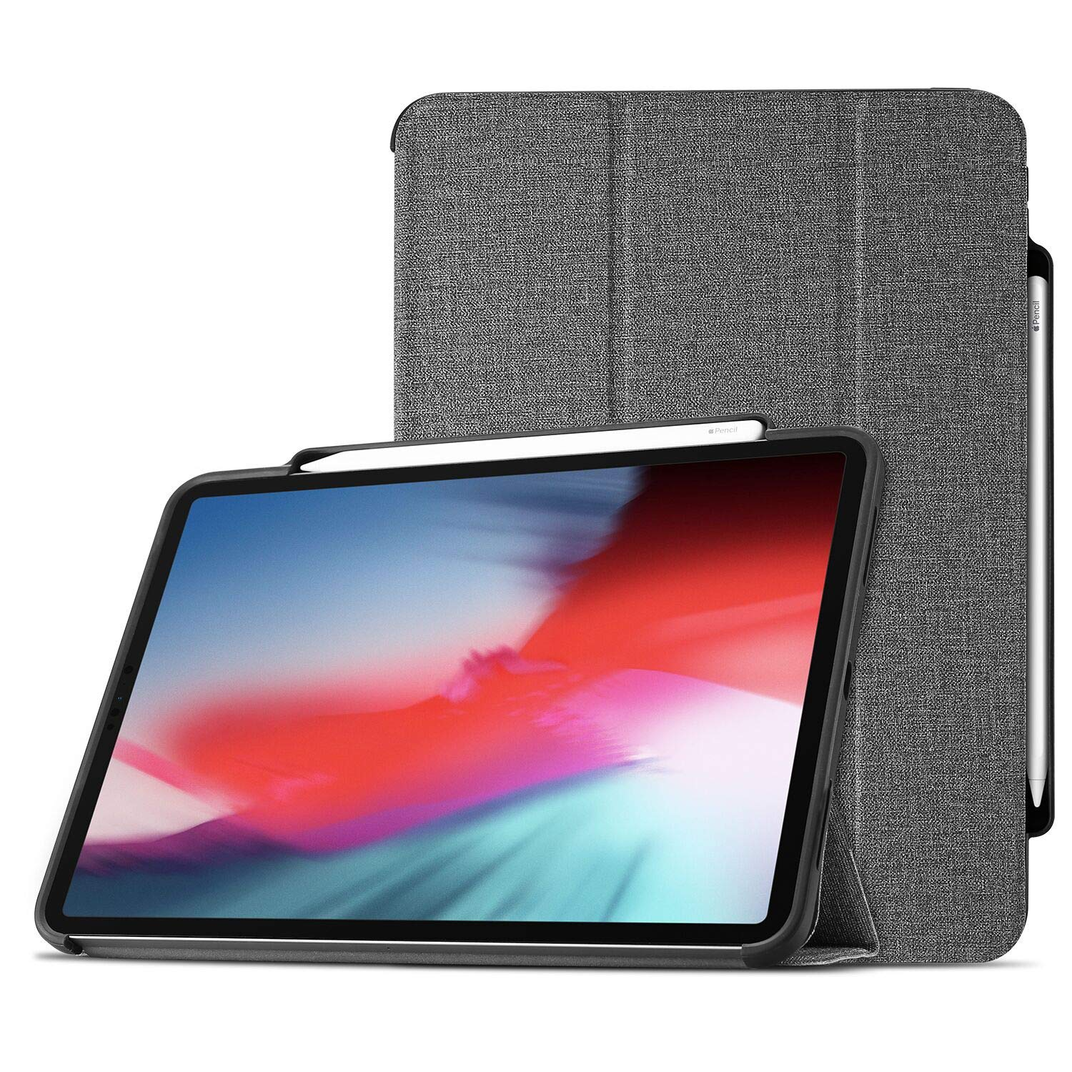 ProCase iPad Pro 11 Case 2018 with Apple Pencil Holder [Support Apple Pencil Charging], Protective Smart Cover Shell Stand Folio Case for Apple iPad Pro 11 Inch 2018 Release –Gray