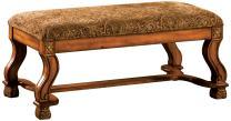 Furniture of America Valencia Fabric Accent Bench, Antique Oak