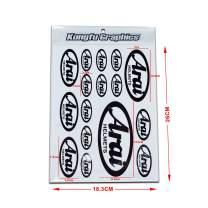 Kungfu Graphics Arai Micro Sponsor Logo Racing Sticker Sheet Universal (7.2X 10.2 inch), White Black
