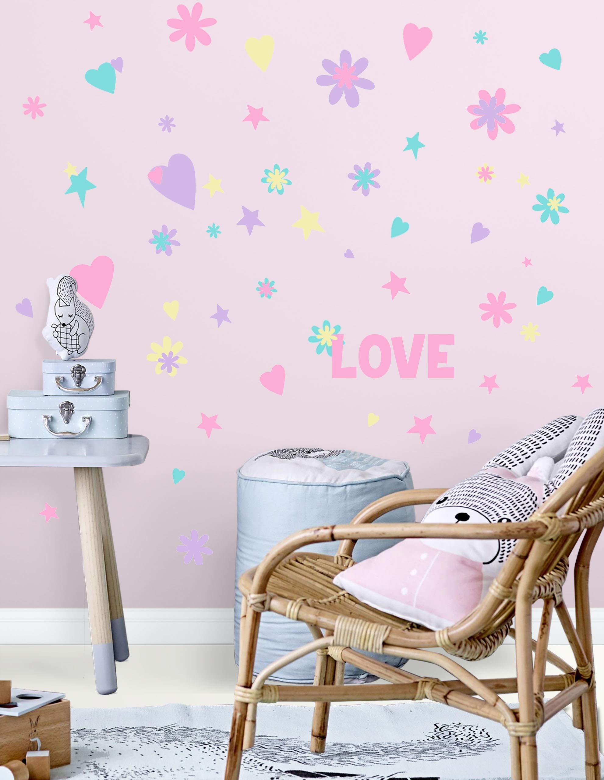 Create-A-Mural Love Word Flowers, Hearts, Stars Wall Decals for Girls Rooms (136) Kids Room Decor Stickers, Baby Nursery Toddler, Teen Decorative DIY Bedroom Peel n' Stick Art Mural
