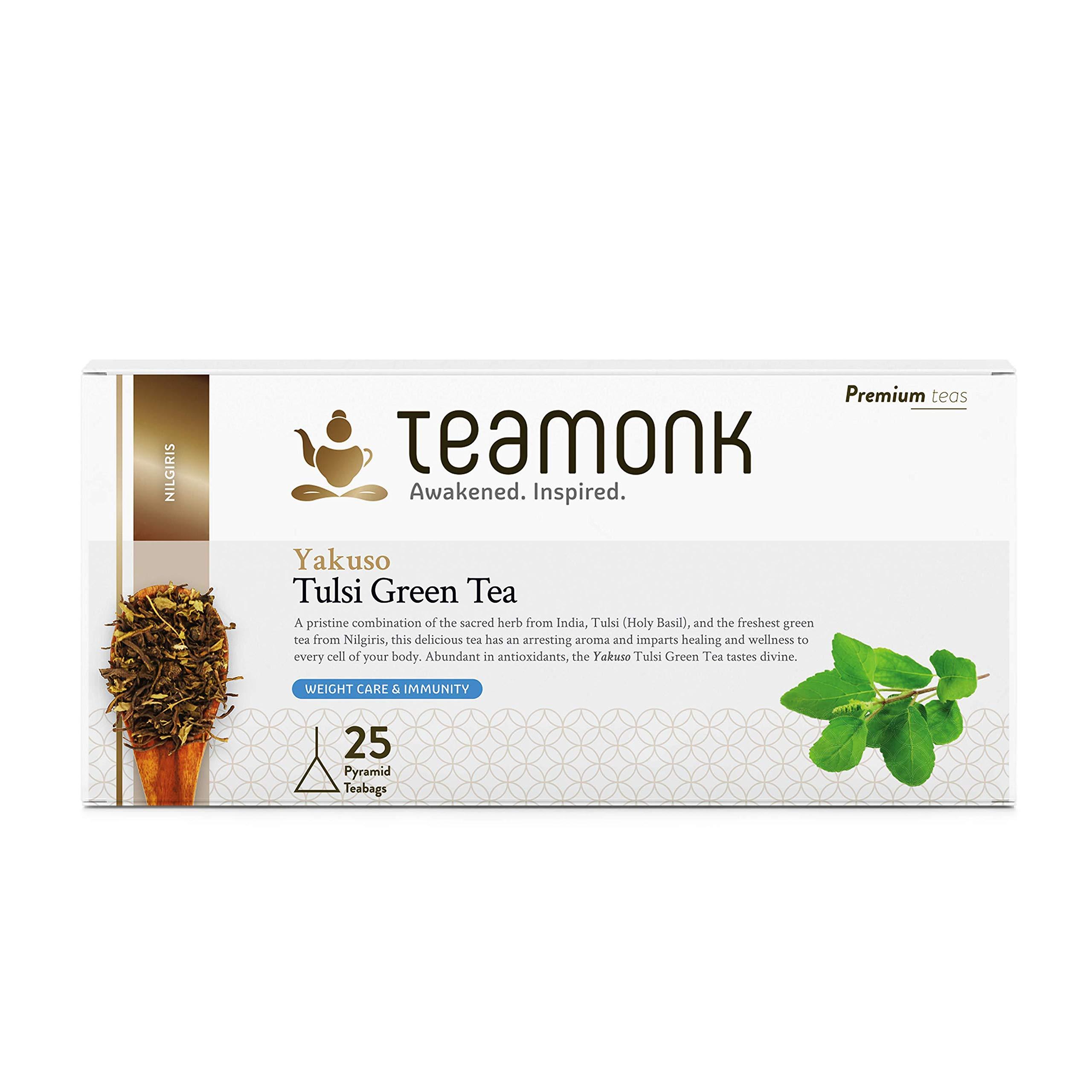 Teamonk Yakuso Holy Basil Tulsi Green Tea Bags - 25 Tea Bags | Tulsi Tea Bags for Weight Loss | Slimming Tea Bags | Ayurvedic Holy Basil Tea | 100% Pure Natural Tulsi Tea | No Additives
