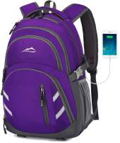 MOGGEI Backpack Bookbag for School College Student Business Travel with USB Charging Port Fit Laptop Up to 15.6 Inch Luggage Chest Straps Night Light Reflective (Purple)