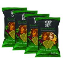 Wicked Crisps, Spinach Parmesan, Baked Veggie Chips, Gluten-free, Low-fat, Non-GMO, Kosher, Gourmet Savory Crisps in Exciting Flavors, All Natural, 4oz party-size bag (4 pack)