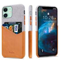 """Lopie [Sea Island Cotton Series] Slim Card Case Compatible for iPhone 11 Pro 2019 (5.8""""), Fabric Protection Cover with Leather Card Holder Slot Design, Brown"""