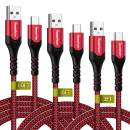 USB Type C Cable, Type C Charger 10ft 6ft 3.3ft, iSeekerKit 3-Pack USB-C to USB-A,Double-Braided Nylon Fast Charging Cable Compatible for Samsung Galaxy S10/ S9 / S9+ / S8, iPad Pro and More(Red)