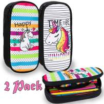 BEYUMI Cute White& Rainbow Unicorn Pencil Case 2 Pack, up to 50 Pens High Capacity Pencil Pouch Stationery Organizer Multifunction Cosmetic Makeup Bag, Perfect Holder Student Adult Office High School